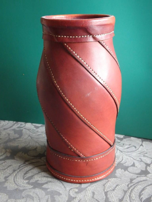 Leather, vase, hand stitched, art, dimoline, ANZLA, NZ, New Zealand