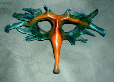 Leather masquerade Mask, Tim Swainson, anzla, NZ, New zealand, party,art