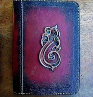 Leather, Journal, embossed, Tiki, Tim Swainson, anzla, NZ, New zealand, art