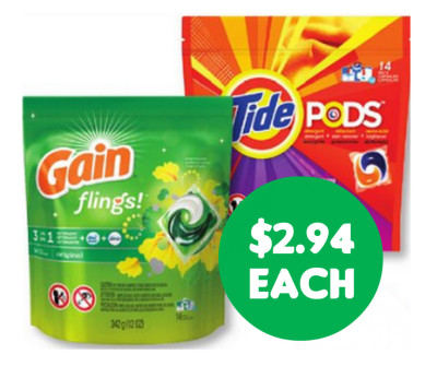 Tide Pods or Gain Flings $2.94 at CVS-RUN FOR THIS DEAL***ANOTHER WEEK*****