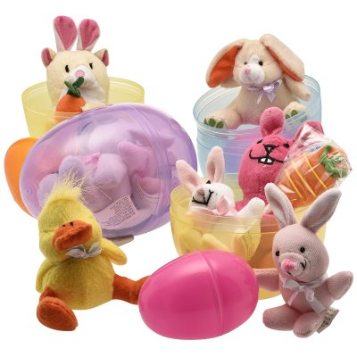 Jumbo 6'' Easter Eggs Filled with Plush Easter Bunny's Ducks and Hamsters (pack of 3 Jumbo Eggs Per