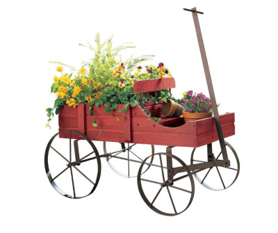 WOW $19.99 Amish Wagon Decorative Garden Planter, Red, Weathered, Wood