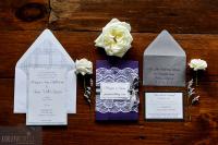 pocket invitation, envelope liner, gray, grey, purple,