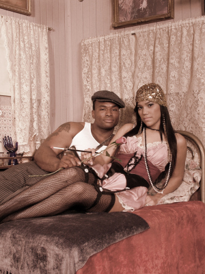 1920s style couple in the boudoir