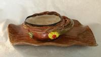 Wood Textured Gravy Boat & Platter