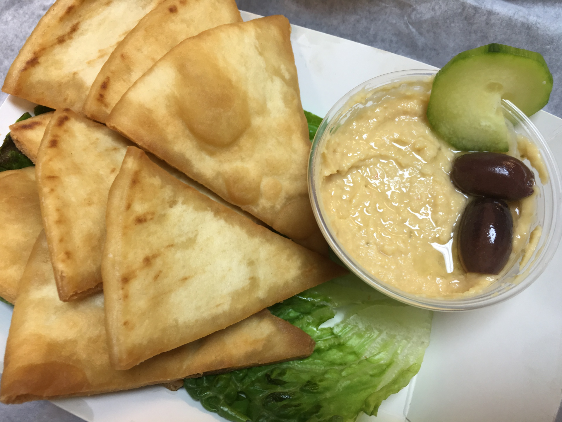 Greek Hummus with Fresh Fried Pita Chips