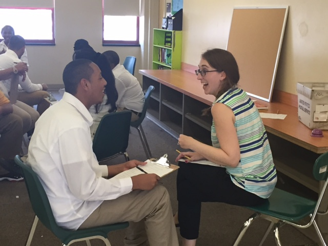 Mrs. Kelly holding interviews during the first week of school!