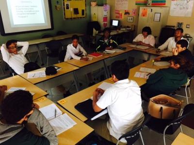 Ms. Aubrey's class deep in Socratic Seminar