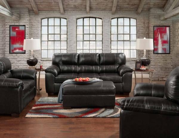 Austin black sofa set