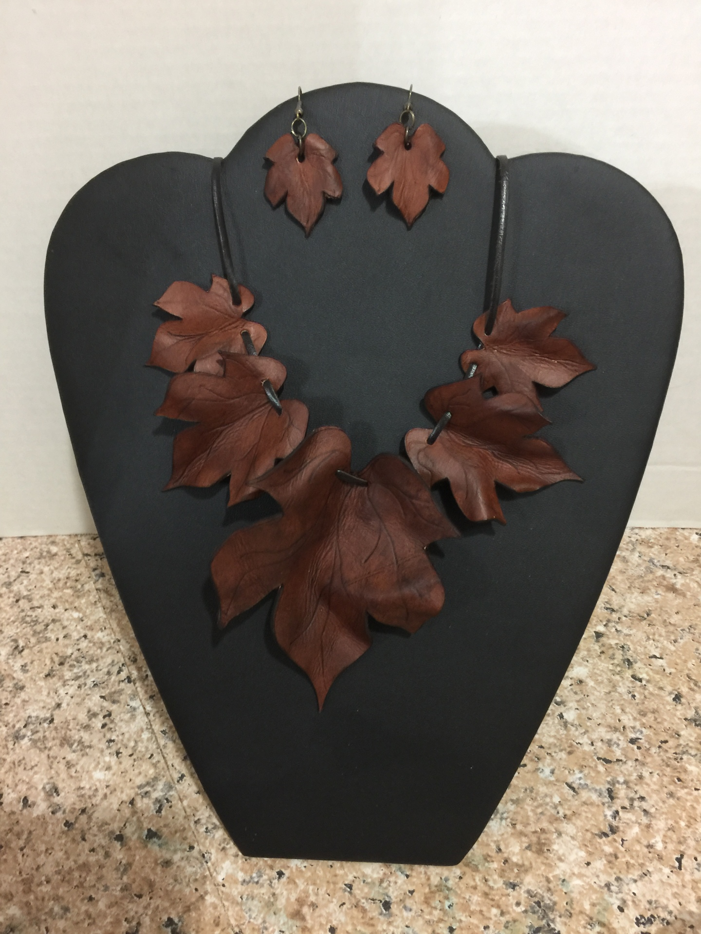 Leather Leaf Necklace and Earrings