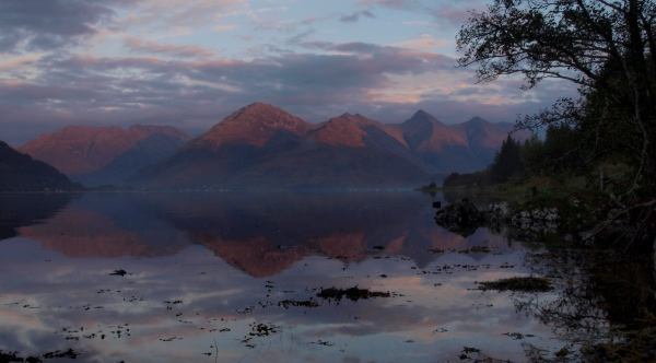 Loch Duich and the Five Sisters at twilight.