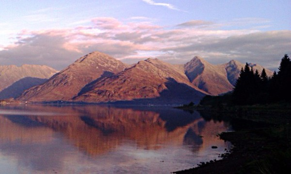 Loch Duich and Five Sisters at sunset.