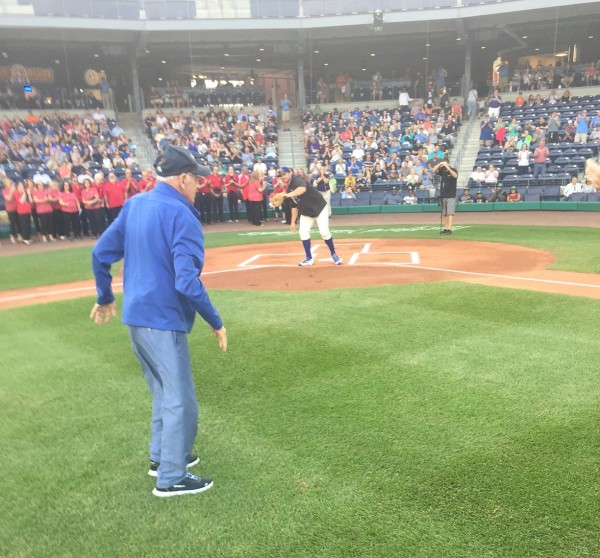 Lindy Throws Out the First Pitch at Dunkin Donuts Park 08-12-17