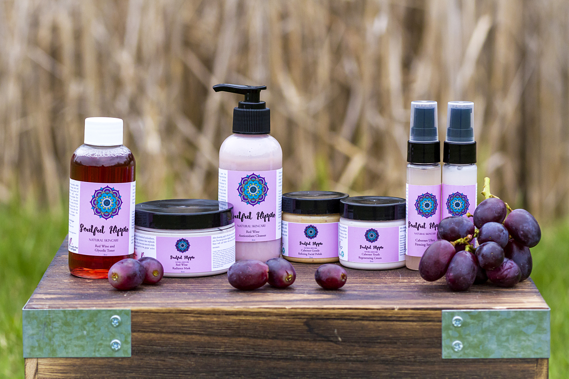 Antioxidant skincare line made of organic red wine extract and many other beneficial ingredients