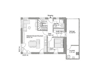 German flat pack home ground floor layout