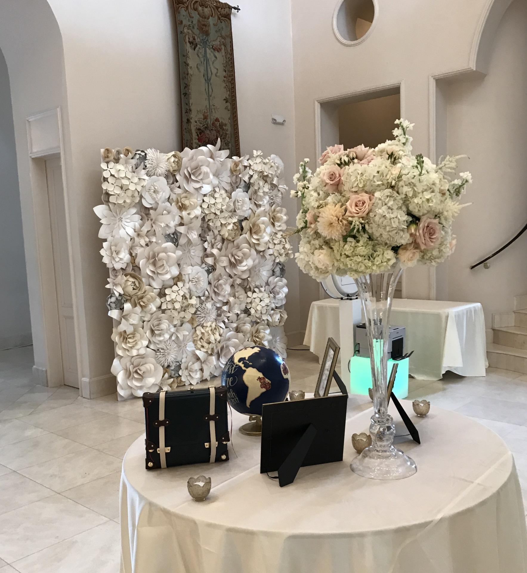 Photo booth backdrop, backdrop, wedding, Paper flower wall, Houston Paper Flowers, Houston Paper flower wall rental,