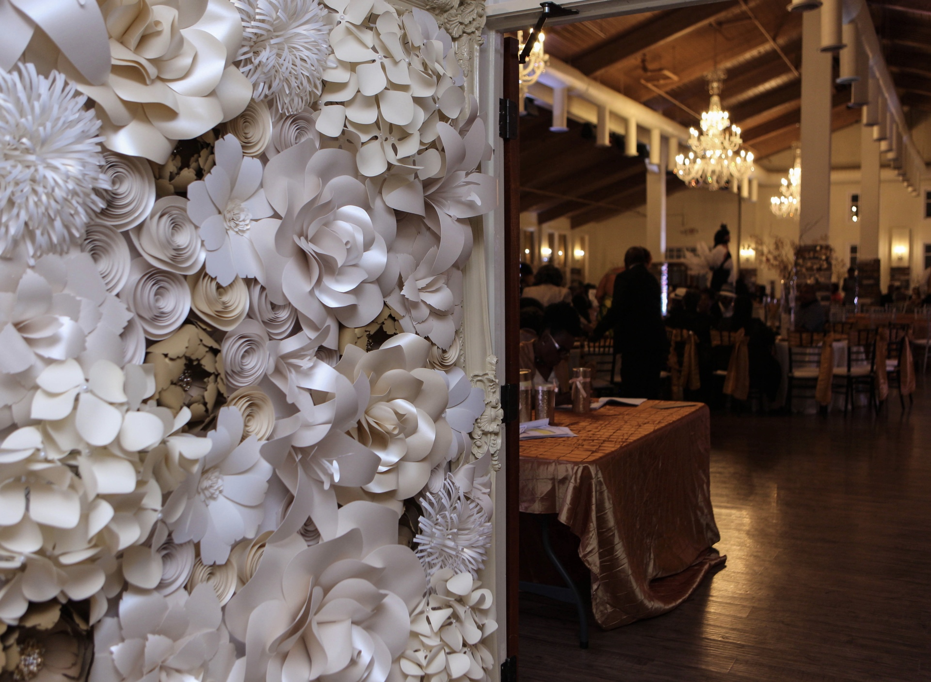 Welcome, entry decor, sign in table, selfie station, Chloe Cook Events, Wedding ceremony backdrop, altar, Houston Paper Flowers, Paper Flower wall rental, corporate event