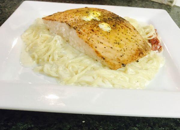 Salmon, pasta, seafood,