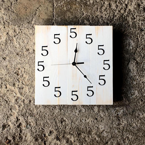 Square Solid Wood White Clock Distressed Finish Retirement