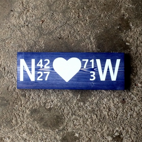 Custom Solid Wood Coordinate Sign with Heart