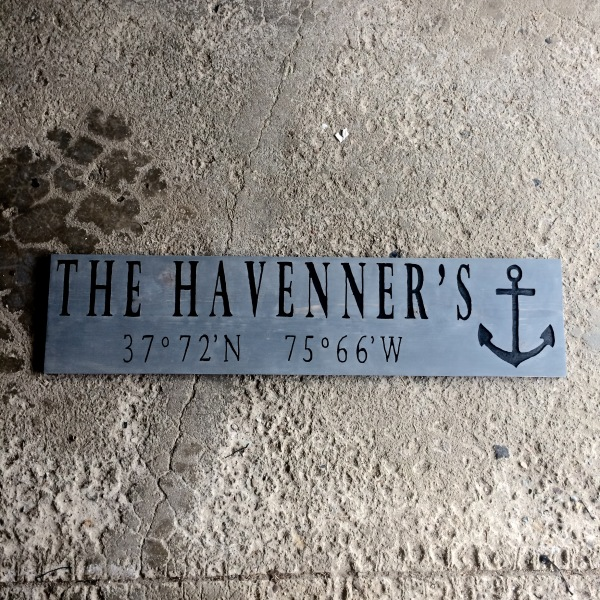 Large Gray Custom Coordinate Sign with Anchor
