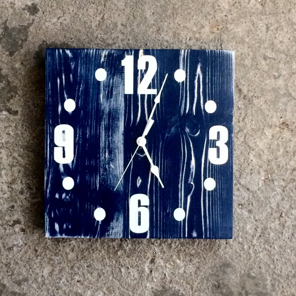 Nautical Navy Blue Square Clock with Distressed Finish and White Numbers