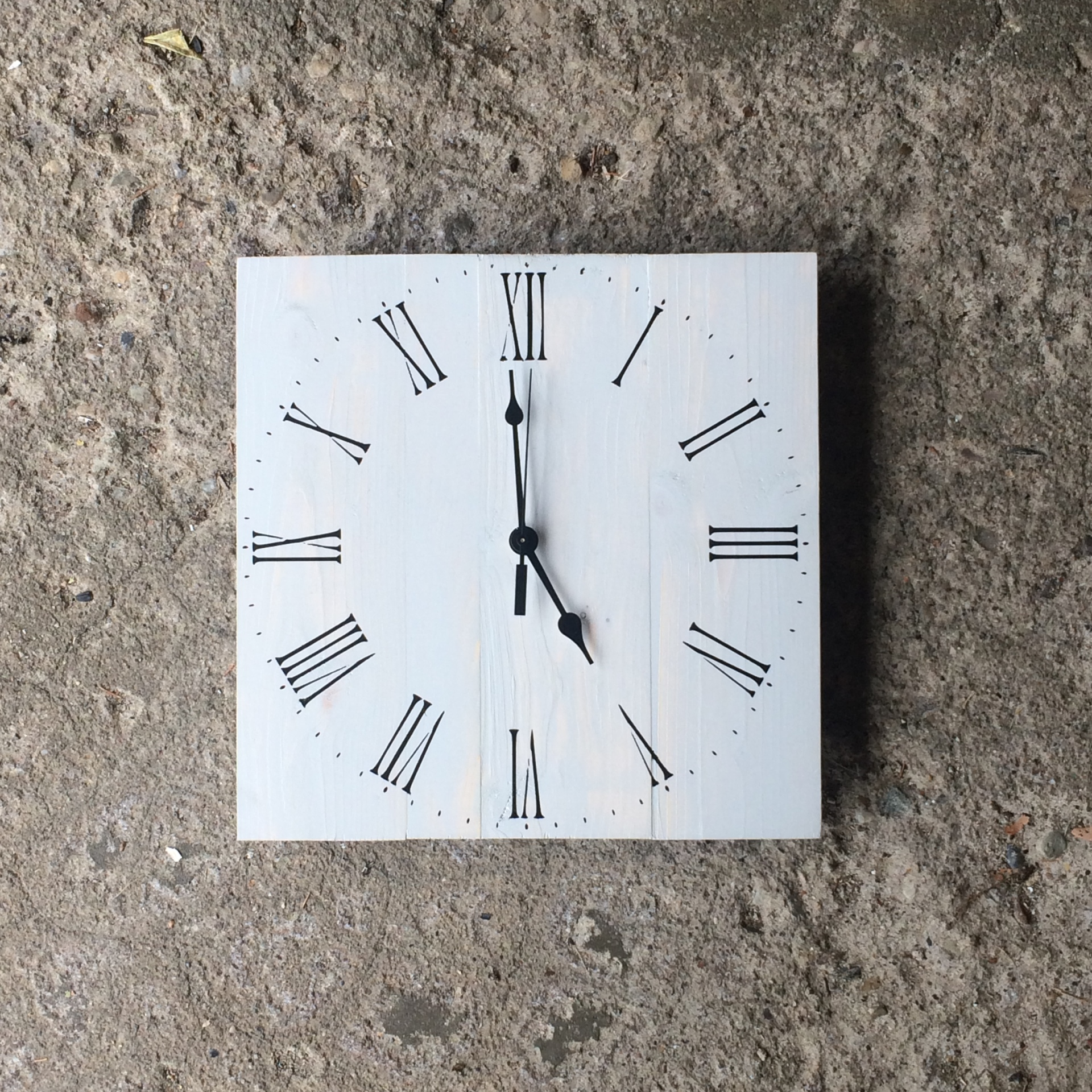 Light Gray Clock with Black Roman Numeral