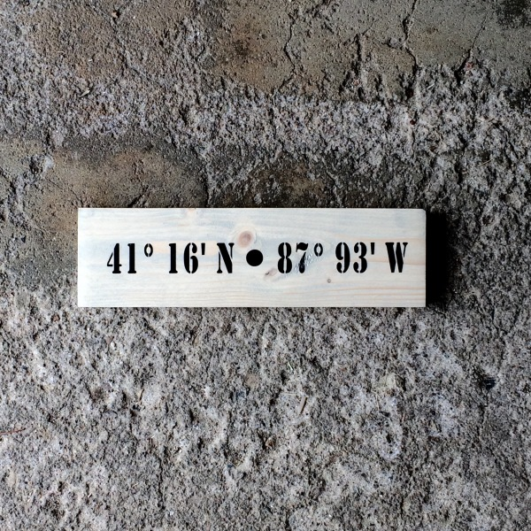 GPS Coordinate Sign made from Solid Wood made by Seeka Decor