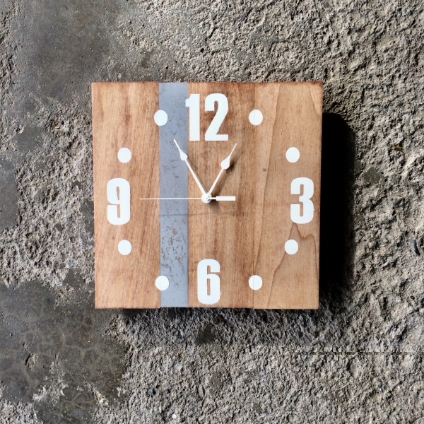 solid wood wall clock with gray accent made by seeka decor