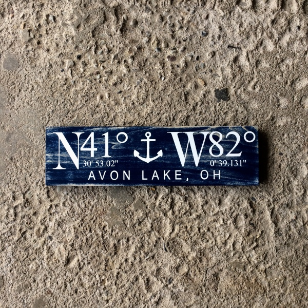 Solid Wood Modern Navy Blue Nautical Coordinate Sign with Anchor