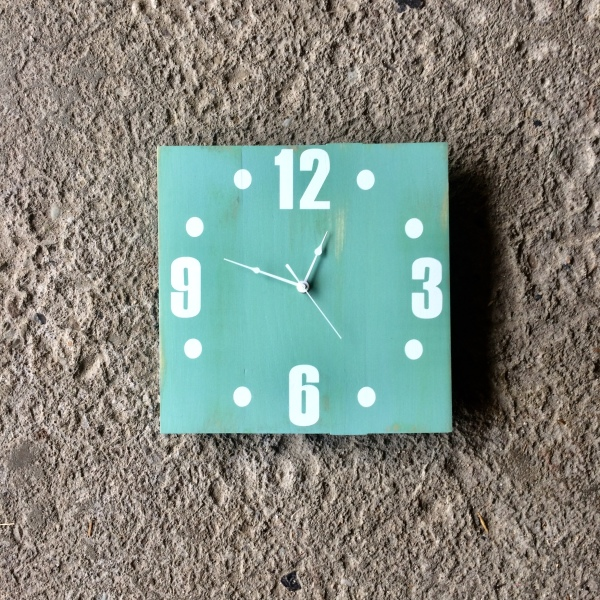 Solid Wood turquoise 12 inch square clock made by seeka decor