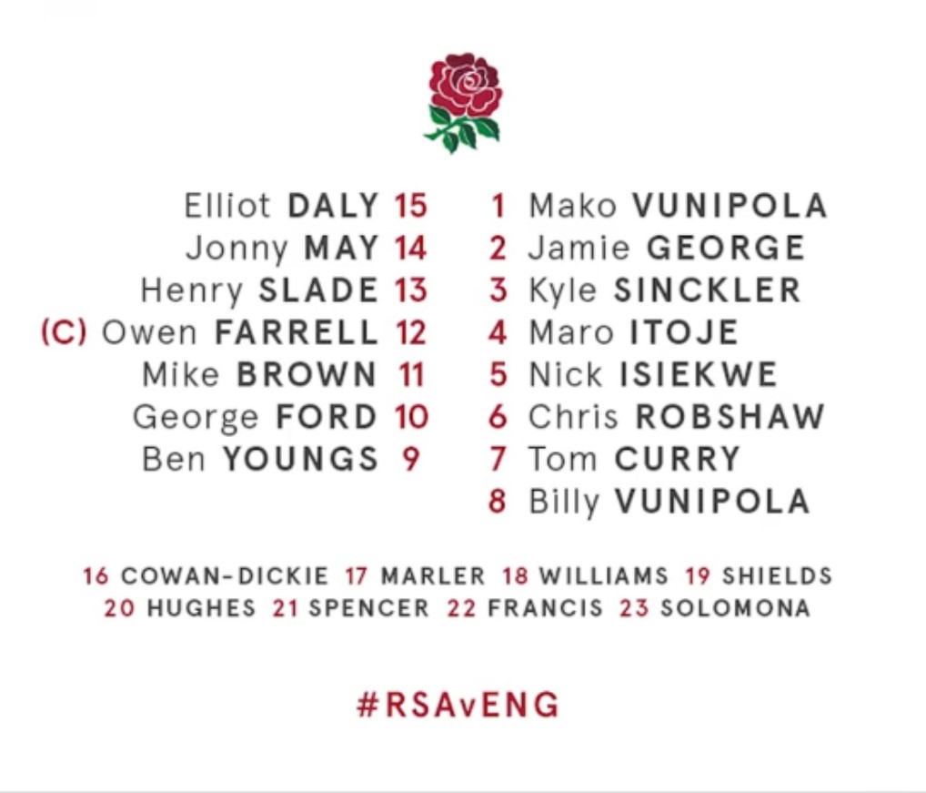 The England rugby team selected to play South Africa on June 8th 2018 includes two OHs