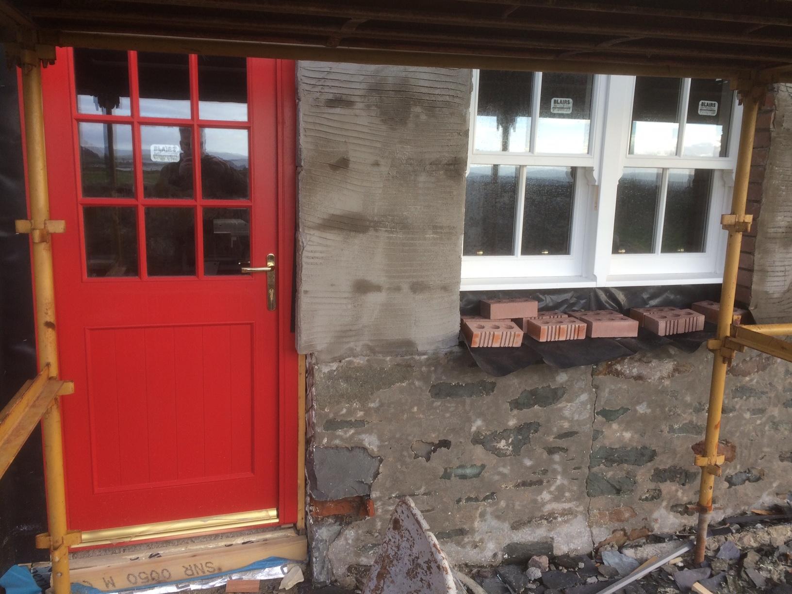 Kitchen door and window in