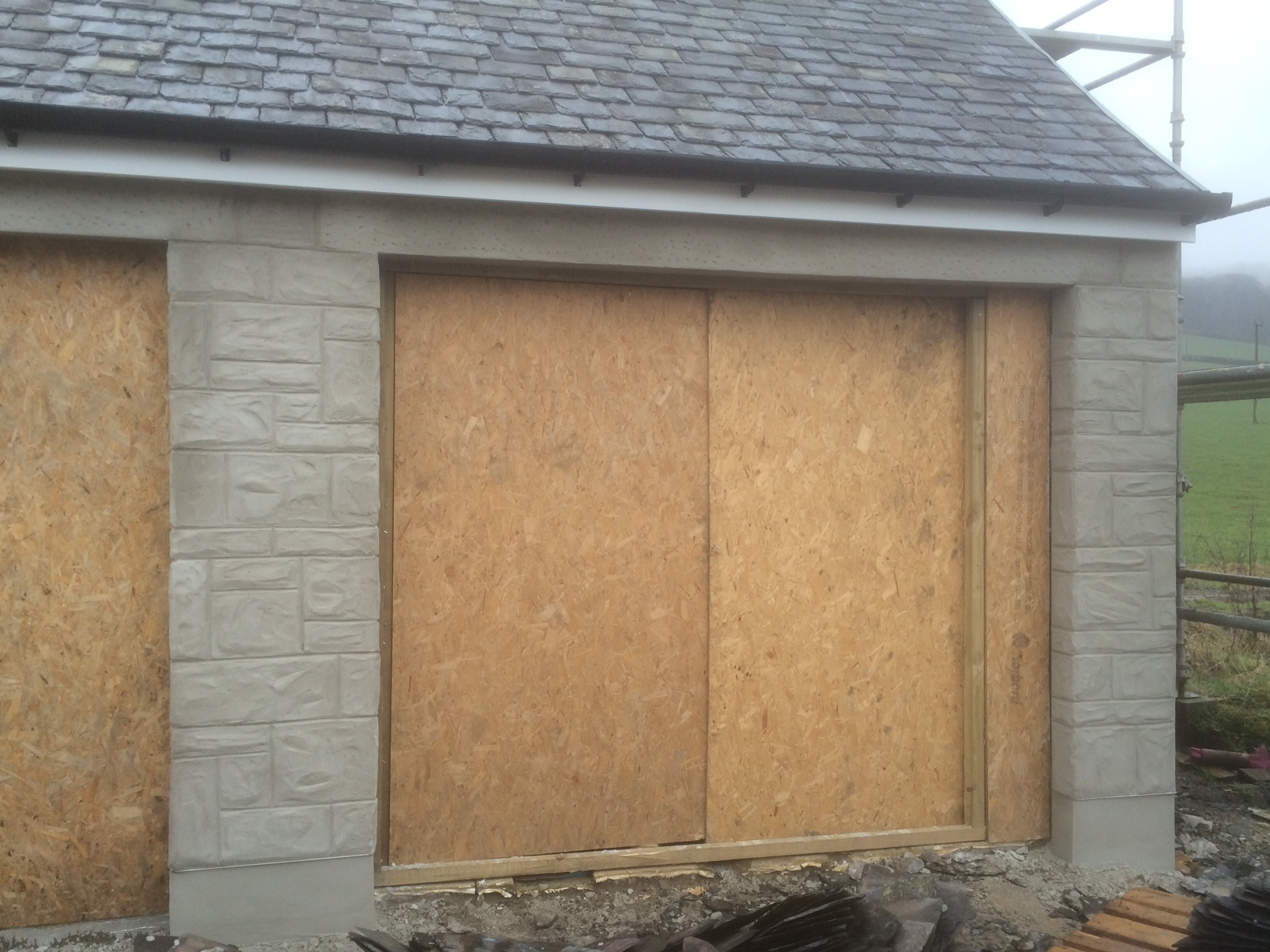 """front of garage """"aged"""""""