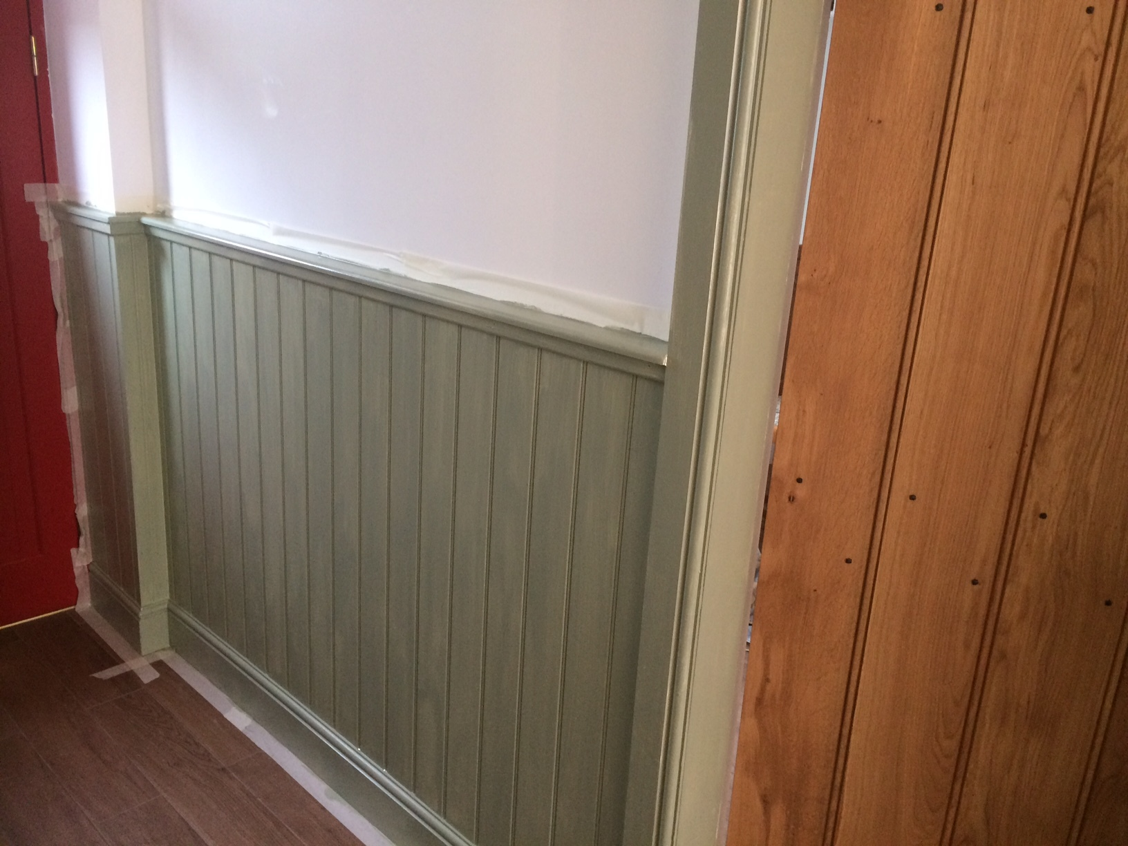 first coat of colour on the panelling