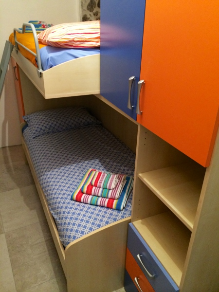 Children's bedroom with bunk beds, Pigna Liguria Italy