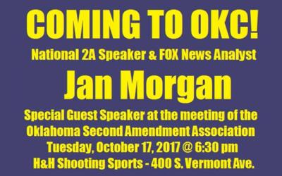 Special Guest Speaker Jan Morgan Oct 17, 2017!