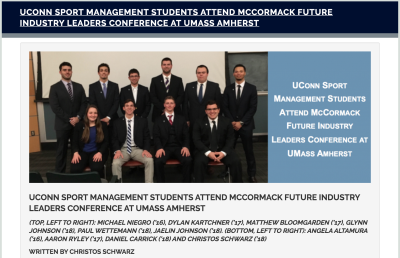 UConn Sport Management Students Attend McCormack Future Leaders Conference Conference at UMass