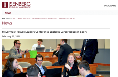McCormack Future Leaders Conference Explores Career Issues in Sport