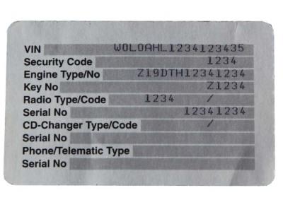 Car VIN Key Identification Number