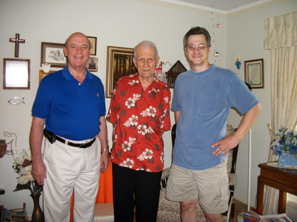 Rev. Heckmann with producers Goeke & Ristow.