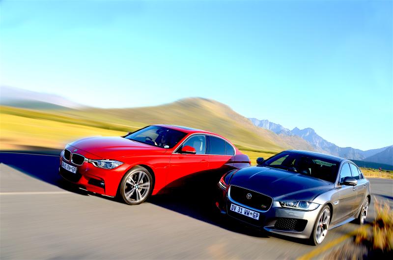 BMW 340i M Sport & Jaguar XE 3.0 S V6. Image Michele Lupini