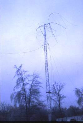 K0MPH Late 1970s - Ice Storm – Note damaged  spreader and wires