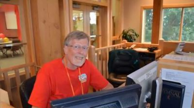 Roger in the Sound and Light Booth at Church for Vacation Bible School - 2013