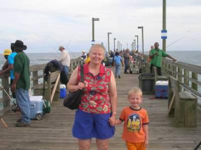 Grandma and James on the Wharf in North Carolina