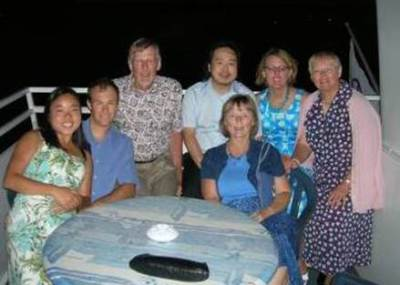 """On the """"anniversary boat"""": (2008): Brenda, Reid, Roger, Ian, Robin, Dianne With Betty in front."""
