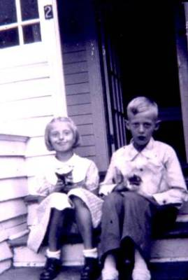 Betty (Roger's sister) and Roger about 1953