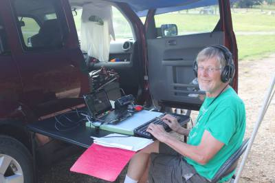 Roger operating as W1AW/0 ND at Hankinson Hills camp grounds - 2014