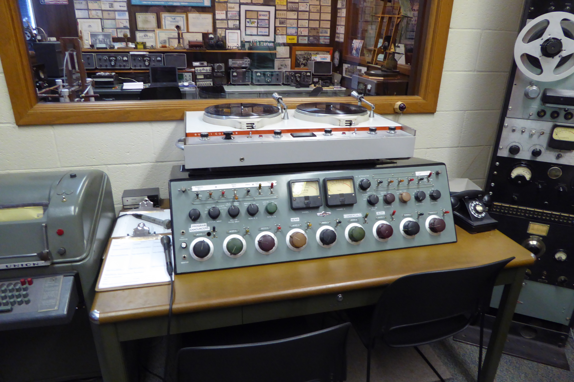 Collins broadcasting audio board and Collins S-Line at the Pavek Museum of Broadcasting