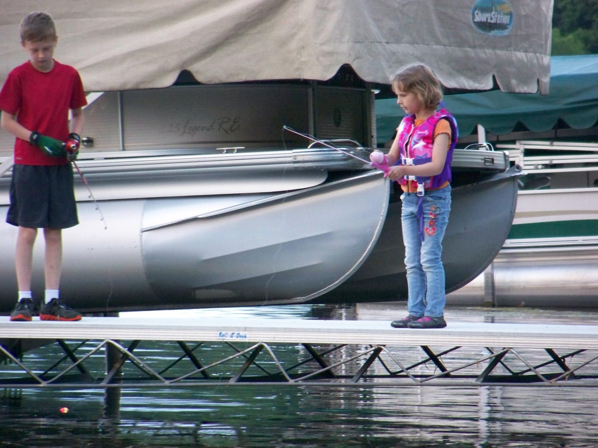 Fishing off the neighbors dock - 2014